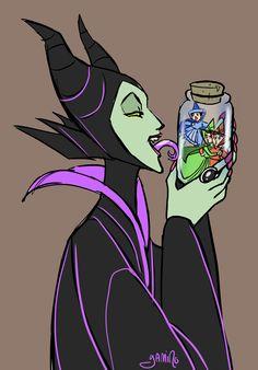 Maleficent x Good Faries by `Yamino on deviantART Ughhh she's such a sadist I love it Disney Villains Art, Evil Villains, Evil Disney Characters, Dreamworks, Pixar, Sleeping Beauty Art, Disney Stained Glass, Disney Cards, Very Scary