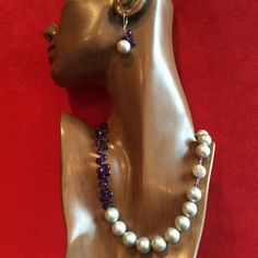 14 mm Silver Pearl and Amethyst Necklace and Earrings $1200