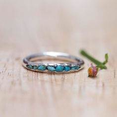 Turquoise ring  stacking ring with light blue by GardensOfTheSun