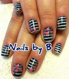 #nailart #handpainted #nailsbyb #gelpolish #stripes #roses