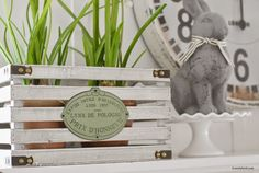 Home by Heidi: Easter Spring Mantle 2015 - use a small crate to hide flower pots