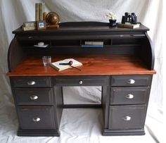 With increasing technology in portable computers, they become as strong as their counterparts on roll top computer desk. Desk Redo, Desk Makeover, Furniture Makeover, Diy Furniture, Office Furniture, White Writing Desk, Hobby Desk, Desk Plans, Secretary Desks