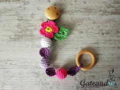 Broche para chupete / chupetero crochet con flor de GateandoCrochet en Etsy