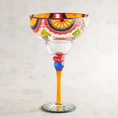 What's your favorite margarita recipe? Our handblown, hand-painted glass will help you enjoy it even more. Margarita Bar, Margarita Glasses, Fiesta Theme Party, Wine Glass Crafts, Perfume, Paint And Sip, Painted Wine Glasses, Glass Design, Glass Art