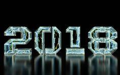 Scarica sfondi 2018 Anno Nuovo, vetro iscrizione, 2018 concetti, Felice Anno Nuovo
