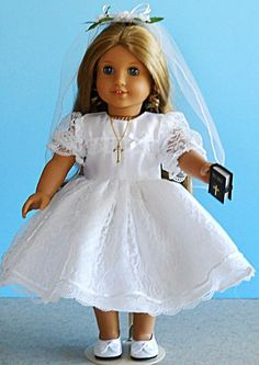 American Girl Doll Clothes - Lace First Communion Dress Set Includes Shoes, Jewelry and Bible M First Communion Party, First Communion Dresses, Communion Favors, American Girl, Lovely Dresses, Flower Girl Dresses, Flower Girls, White Dress Shoes, Lace Dress