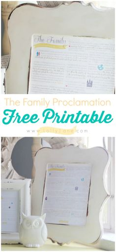 The Family Proclamation, free printable available in multiple colors! #iamamormon #freeprintable #familyproclamation