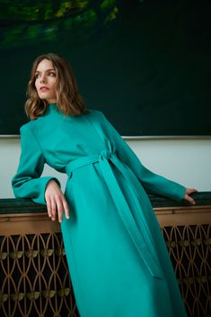 Cashmere Coat, Green Silk, Black Ribbon, Straight Cut, Winter Collection, Wool Coat, Silk Top, Coats For Women, Peppermint