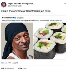 Angela Bassett's missing oscar- This is the epitome of transferable job skills New York Post 9 How Snoop Dogg's joint-rolling skills made him a sushi master nyp. Funny Memes About Girls, Stupid Funny Memes, Funny Tweets, Haha Funny, Funny Stuff, Funny Quotes, Funny Things, Random Stuff, Funny Shit