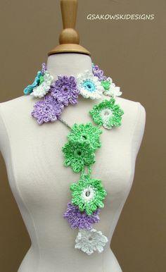 Cotton Flower ScarfLariatTurquoiseGreenPurple by gsakowskidesigns