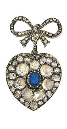 A late 19th / early 20th century diamond and sapphire brooch. The detachable heart-shaped pendant centrally-set with an oval-cut sapphire within a graduated rose-cut diamond surround in foiled closed back settings, to a later reverse with engraved motif, suspended from a rose-cut diamond bow surmount, Dutch marks, 5.0cm long Maker's mark JRS.
