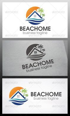 Beach Home Logo by BossTwinsArt - Three color version: Color, greyscale and single color. - The logo is 100 resizable.- You can change text and colors very easy