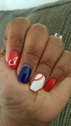 Cleveland Indians nails Red white blue nails