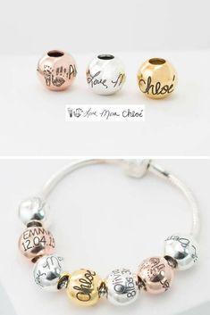 53d00f7d406b4 Handwriting Bead • Fingerprint Bracelet • Custom Name European Big Hole  Bead • Personalized Jewelry • MOTHERS DAY GIFT • New Mom Gift • CM16
