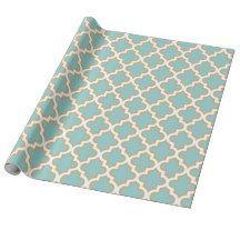 Quatrefoil Moroccan Elegant Gold Teal Blue Pattern Wrapping Paper   Zazzle