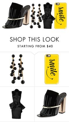 """""""[169] Wearing black & a smile."""" by ka-berger ❤ liked on Polyvore featuring Miriam Haskell, Casetify, Marchesa and Proenza Schouler"""