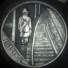 DIMAS SÁNCHEZ MORADIELLOS HOBO NICKEL - WALKING HOBO - 1936 BUFFALO NICKEL Antique Coins, Old Coins, Rare Coins, Pewter Art, Hobo Nickel, Coin Art, Coin Collecting, Art Forms, Metal Art
