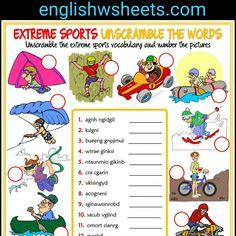 Extreme Sports Esl Printable Unscramble Words For Kids #extreme #sports #extremesports #esl #printable #Unscramble #words #kids #forkids #Worksheet #handout #englishwsheets #classroom #learnenglish #teachenglish #vocabulary #English