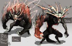 Grimm Studies 3 - (Humanoid Brutes) by Nakama-Kai on DeviantArt Monster Concept Art, Fantasy Monster, Monster Art, Creature Concept Art, Creature Design, Creature Drawings, Animal Drawings, Fantasy Kunst, Fantasy Art