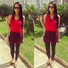look legging, vermelho e preto
