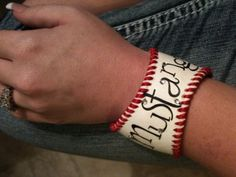 Baseball bracelet...how cute will this be sitting watching her brother's games???