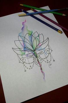 Geometric ornate lotus flower