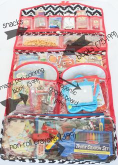 Hanging jewelry organizer for kids road trip.  could also work to block the sun from kiddos (as long as it doesn't block driver's sight lines).