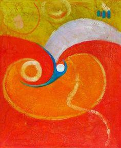 oranžová, moderné umenie, abstrakcia, dekorácie interiéru