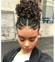 Save by hermie braids. in 2019 curly hair styles, hair styles, natural hai Curly Hair Styles, Cute Curly Hairstyles, Braided Hairstyles For Black Women, Baddie Hairstyles, Hairstyles For School, Natural Hair Styles, Protective Hairstyles, Mixed Hairstyles, Braids For Curly Hair