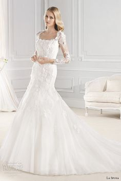 la sposa bridal 2015 wedding dress long sleeves square neckline fit and flare wedding gown eol