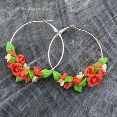 Boucles d'oreille bouquet de rose couleur blush