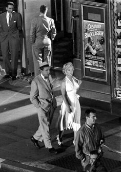 "Marilyn Monroe and Tom Ewell on the set of ""The Seven Year Itch"", 1954."