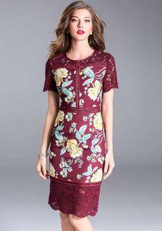 Short sleeve embroidery stitching slim midi dress Trendy Dresses, Simple Dresses, Women's Fashion Dresses, Sexy Dresses, Casual Dresses, Short Dresses, Party Dresses, Model Dress Batik, Batik Dress