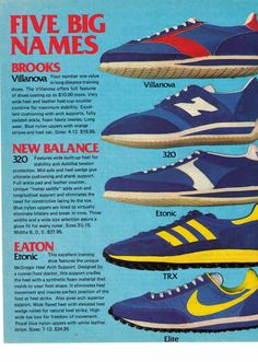"1977 ""Nike, Brooks, Etonic, New Balance, Adidas"" '5 Big Names' Shoe Print Ad."