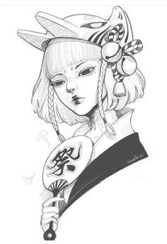 Geisha Tattoos, Geisha Tattoo Design, Japan Tattoo Design, Anime Tattoos, Dragon Sleeve Tattoos, Tribal Sleeve Tattoos, Tattoo Drawings, Art Drawings, Geisha Art