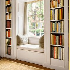 BLOG — LW {from this old house?} love this window seat between built-in bookcases!