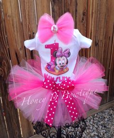 Pink Baby Minnie First Birthday Tutu Outfit Set by HoneyBBowtique1, $37.99