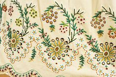 Skirt detail from gown found in the Met, c. 1804-1815.  Beautiful embroidery.