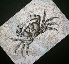 Get crabby!  Crab print on vintage background of Chesapeake Bay, by CrowBiz