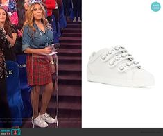 1cb743ac1f32 Wendy s red plaid skirt and white pearl embellished sneakers on The Wendy  Williams Show