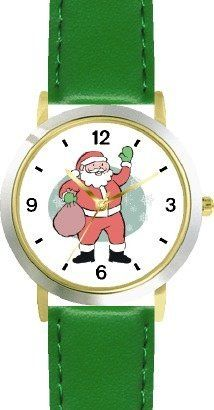 Santa Claus with Bag of Presents (Cartoon) Christmas Theme - WATCHBUDDY® DELUXE TWO-TONE THEME WATCH - Arabic Numbers - Green Leather Strap-Children's Size-Small ( Boy's Size & Girl's Size ) WatchBuddy. $49.95