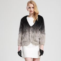 Knitted Mink Fur Coat Natural Real Mink Fur Jacket By Hand Pure Manual Genuine Mink Coat Gradient Color $931.84