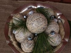 Christmas ornaments covered with shredded sheet music paper and coated in modge podge