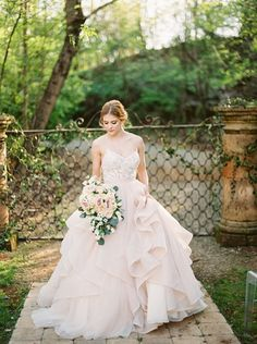 An enchanted forest bridal shoot in a pink marble quarry turned wedding venue in Knoxville, TN with a blush wedding dress and rustic copper decor! Blush Pink Wedding Dress, Blush Bridal, Gorgeous Wedding Dress, Bridal Wedding Dresses, Bridal Style, Dillards Wedding Dresses, Enchanted Forest Wedding, Woodland Wedding, Wedding Dress Gallery