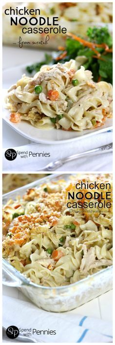 """This Creamy Chicken Noodle Casserole is made from scratch! Easy & cheesy it's quick to make loaded up with veggies (not salt) & it tastes amazing too!"""