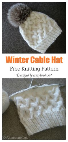 6 Cable Hat Free Knitting Pattern- Winter Cable Hat Free Strickmuster - Knitting patterns, knitting designs, knitting for beginners. Cable Knitting Patterns, Knitting Blogs, Baby Hats Knitting, Knitting For Beginners, Knitted Hats, Crochet Hats, Free Scarf Knitting Patterns, Knitting Projects, Crochet Hat Patterns