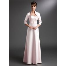 Sheath Sweetheart Floor-Length Satin Mother of the Bride Dress With Ruffle Beading (008006237)