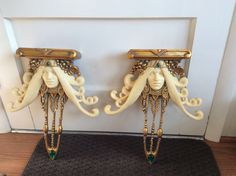 """Very unusual display stands. Bejeweled. 16.5"""" height. 13"""" wide"""