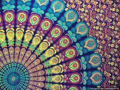 BSD182 Maroon Orange blue Mandala Tapestry by BlissfulMandala - Guest bedroom throw blanket