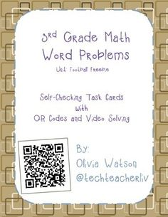 FREE! 3rd Grade Word Problem Review with QR Codes and Video! These are perfect for centers, group activities, and homework to help your students no matter what their ability level. They will allow all students to review various types of word problems and then solve them using bar models!